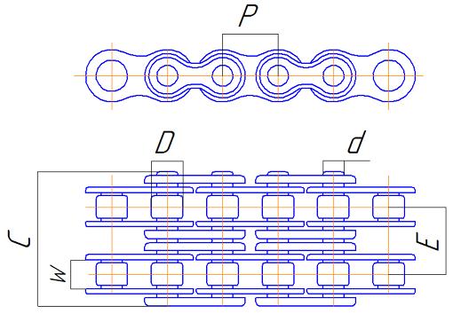 Двухрядные роликовые цепи