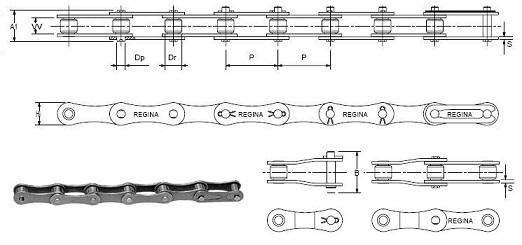 Длиннозвенные роликовые цепи с 8-образными пластинами