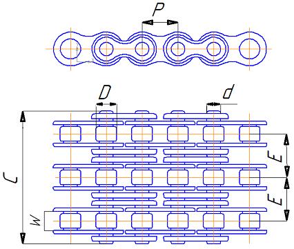 Роликовая трехрядная цепь