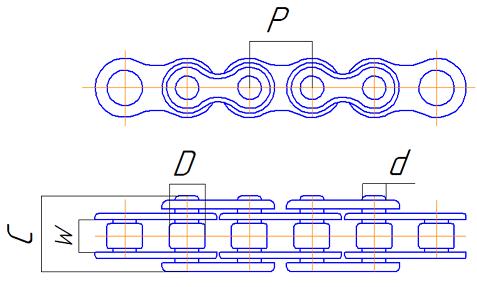 Однорядний роликовий ланцюг