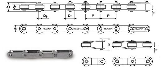 Длиннозвенные роликовые цепи с прямыми пластинами и катками