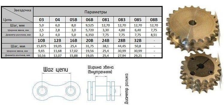 Зірочка 24В-2 z=10 дворядна плоска