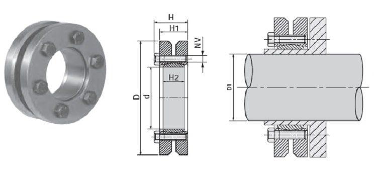 Безшпоночная зажимная втулка KLPP 50 d/D=50/90 мм