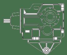 Редуктор конически-цилиндрический с кронштейном и упором