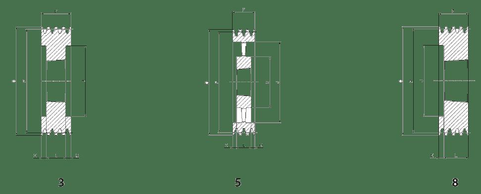 Шкив SPZ-8 - эскиз