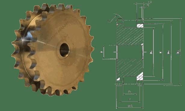 Звездочка под две цепи с шагом 25,4 мм