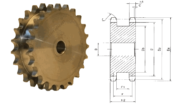 Звездочка под две цепи с шагом 12,7 мм