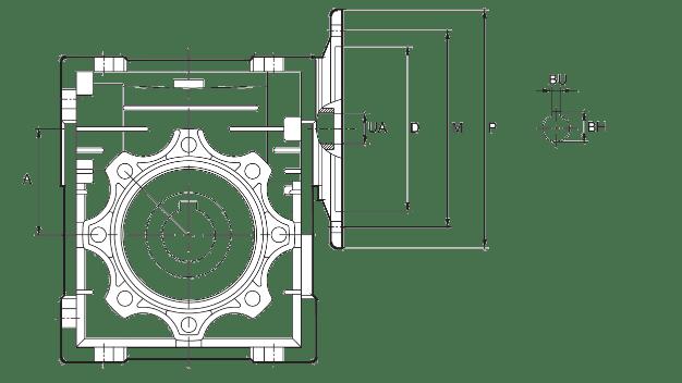 Размеры вхожного фланця червячного редуктора для подключения электродвигателя