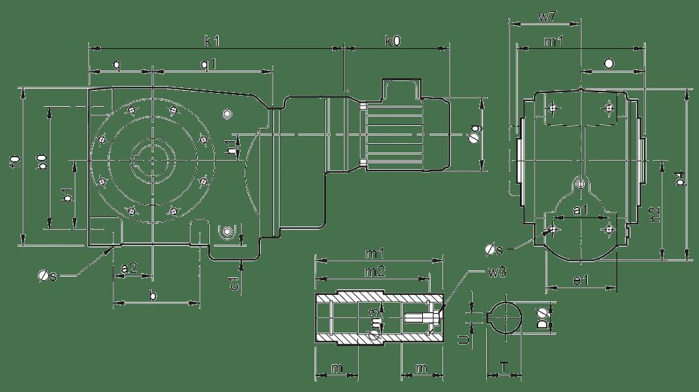 Трехступенчатые цилиндро-червячные редукторы ( типоразмер C0331-C0631)