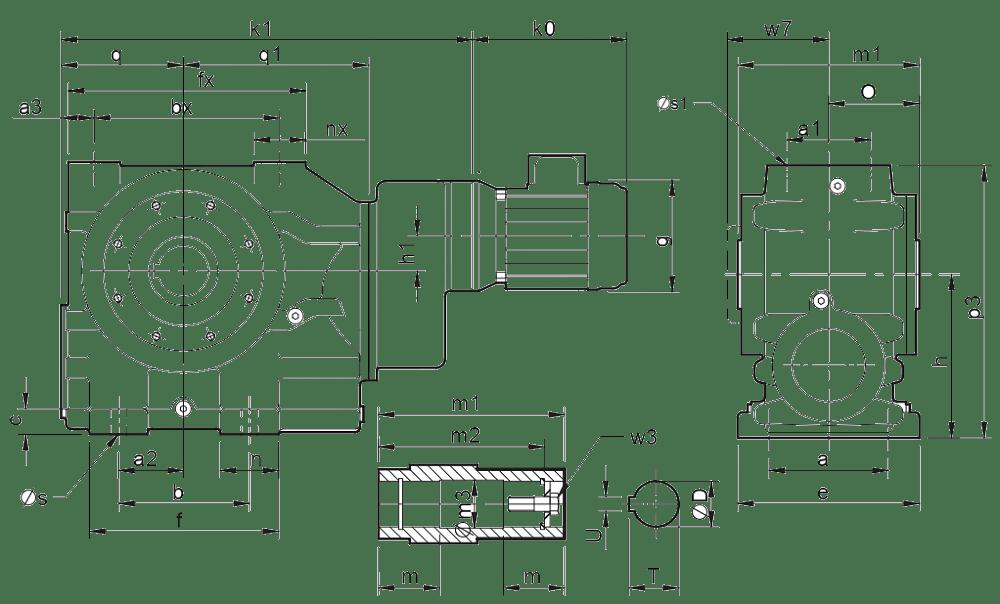 Трехступенчатые цилиндро-червячные редукторы (типоразмер C0731)
