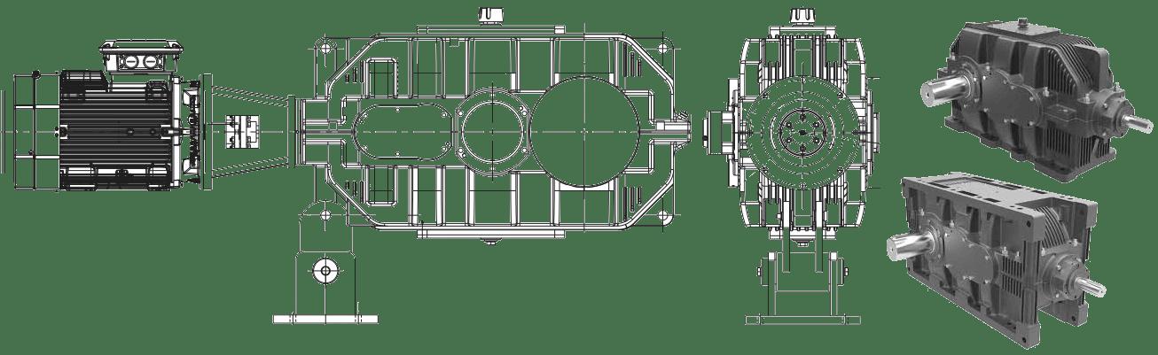 Промышленные редукторы конически-цилиндрические серии E