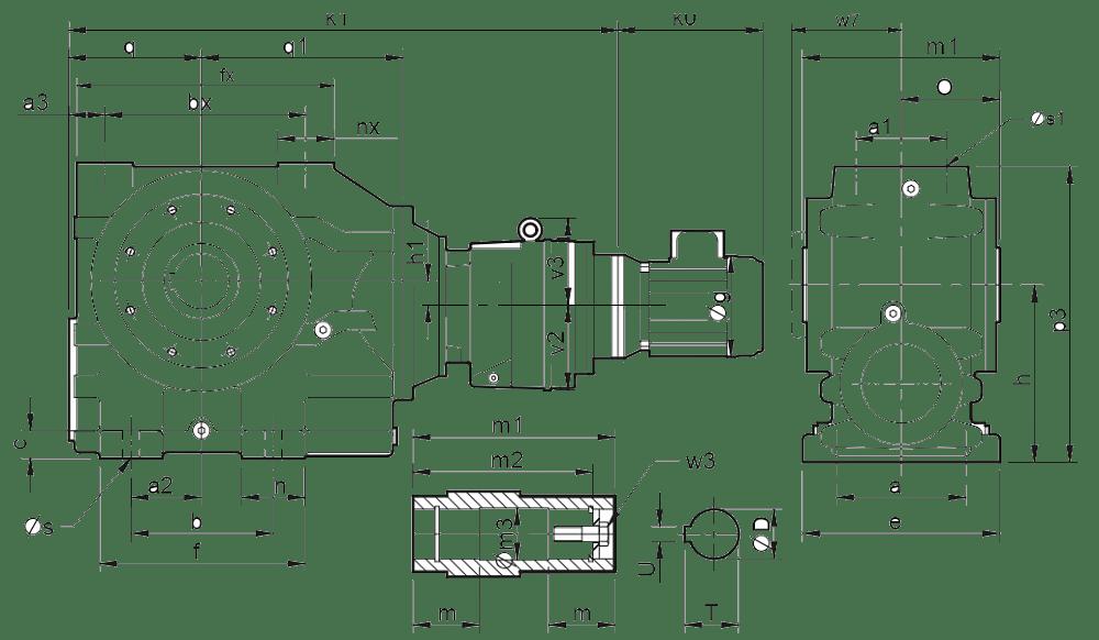 Четырехступенчатые цилиндро-червячные редукторы (типоразмер C0741-C1041)