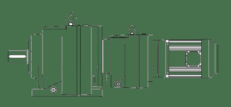 Цилиндрический мотор-редуктор на лапах комбинированный