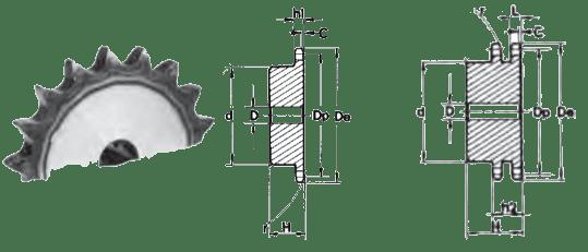 Звездочка с каленным зубом шаг 19,05 (12B)