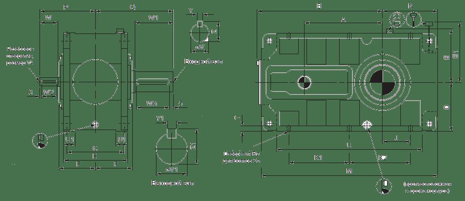 Размеры индустриальных горизонтальных цилиндрических редукторов Benzlers с параллельными валами