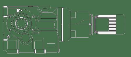 Пятиступенчатый мотор-редуктор цилиндро-конические на лапах