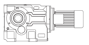Конически-цилиндрический мотор-редуктор трехступенчатый на лапах