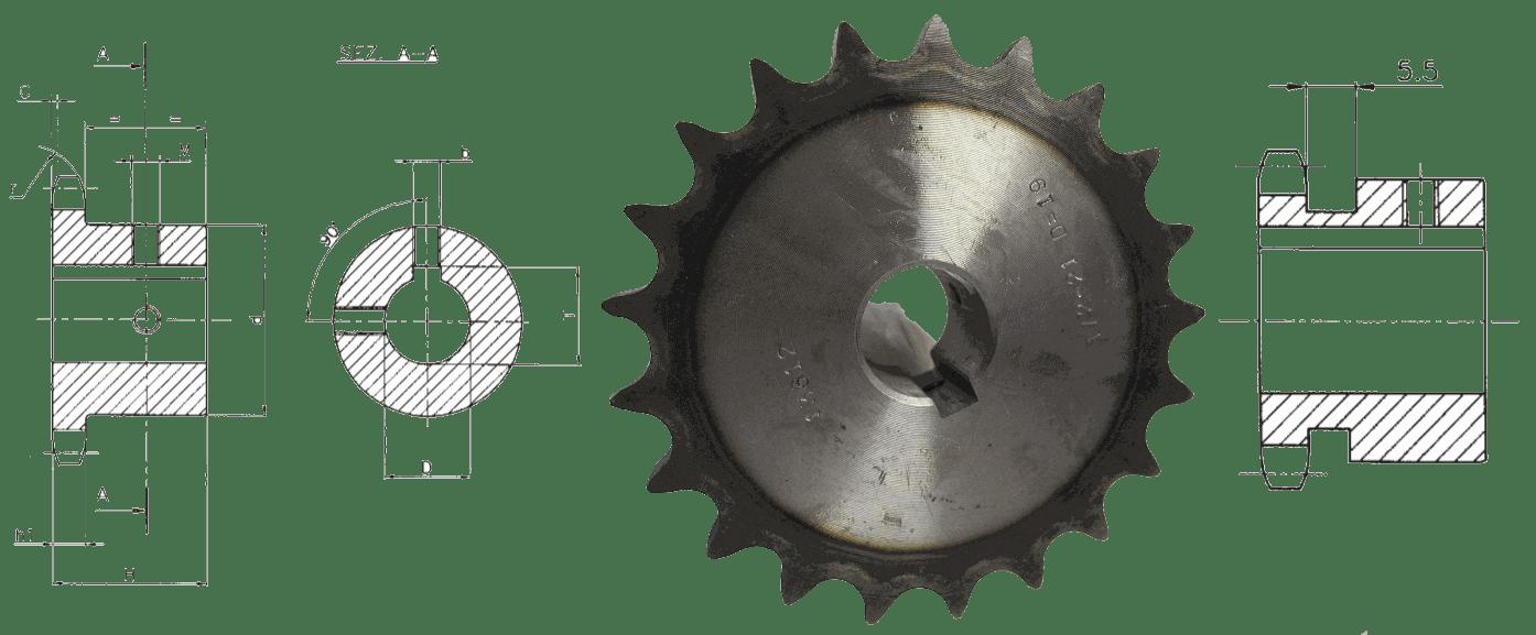 Звездочки специальные, шаг 9,525 мм
