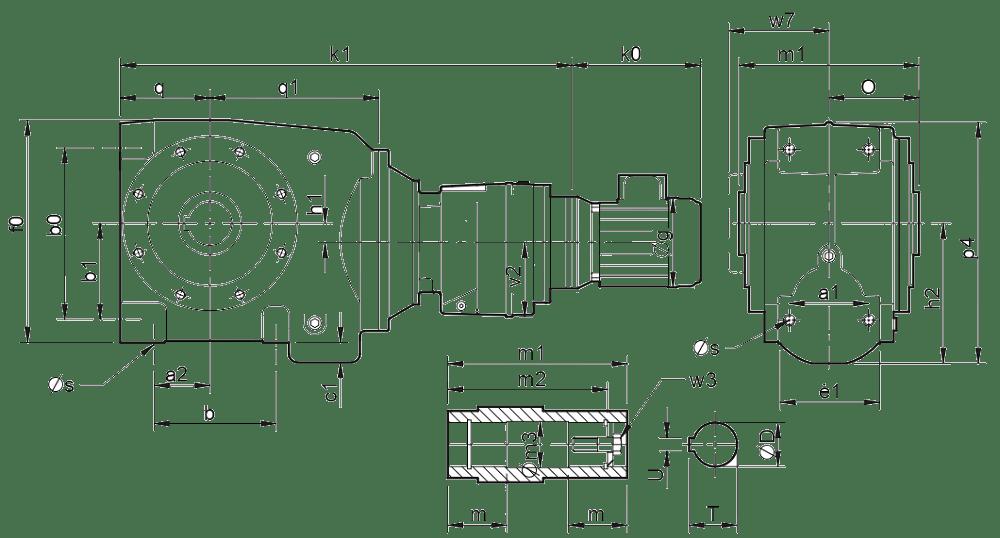 Четырехступенчатые цилиндро-червячные редукторы (типоразмер C0341-C0641)