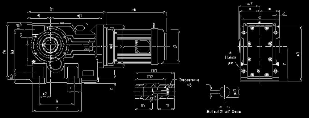 Трехступенчатый конически-цилиндрический мотор-редуктор