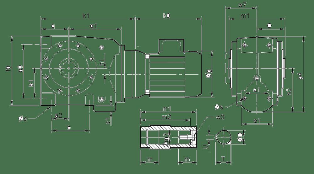 Двухступенчатые цилиндро-червячные редукторы ( типоразмер C0321-C0361)