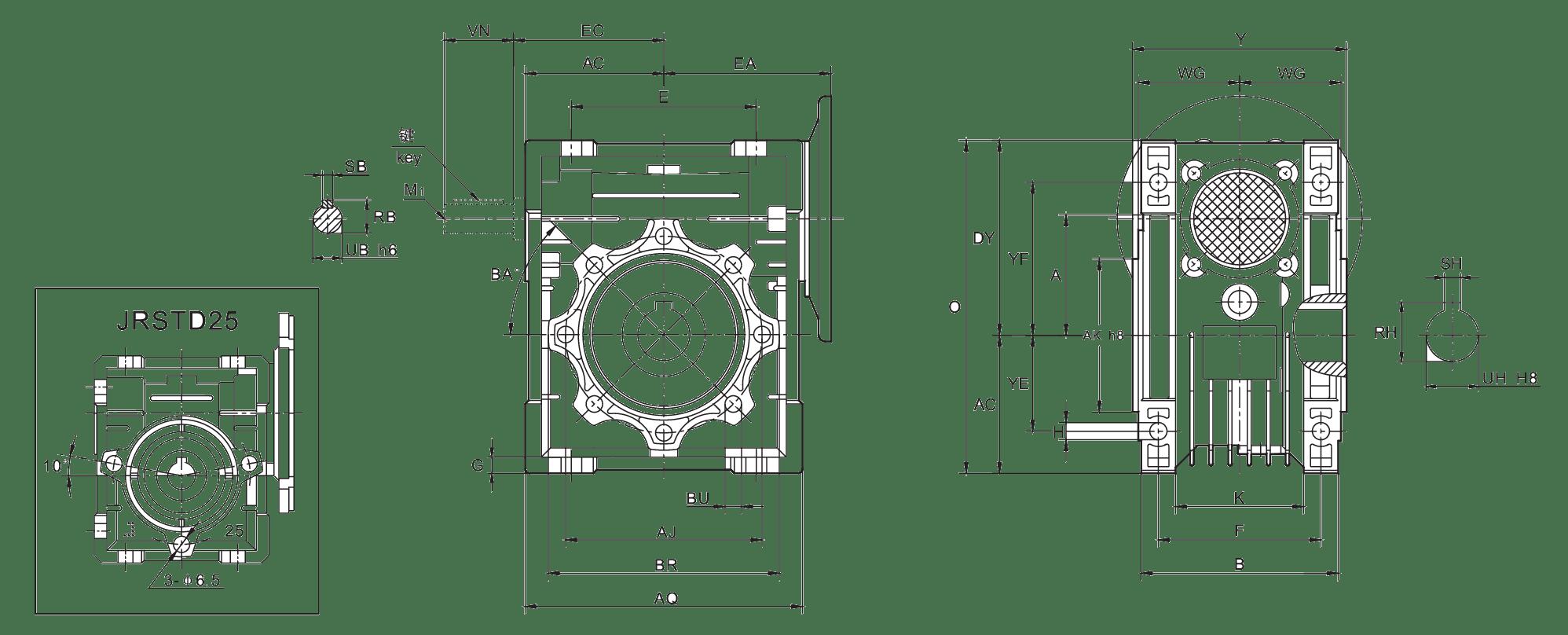 Монтажные размеры червячных редукторов JRSTD (NMRV)