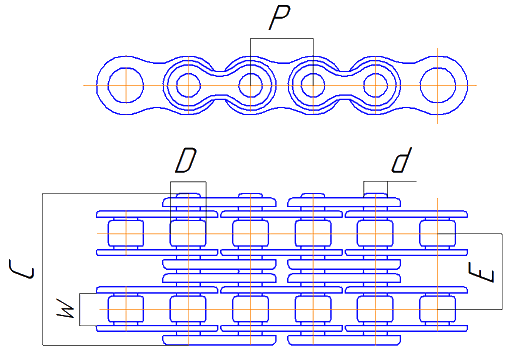 Двухрядная роликовая цепь