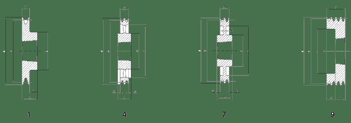 Шкив SPZ-1 - эскиз