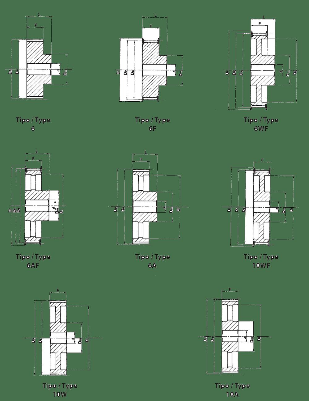 Зубчатый шкив HTD 8M под расточку (чертеж)