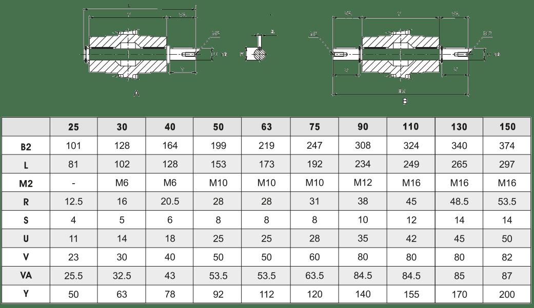 Выходной вал червячного редуктора односторонний/двухсторонний
