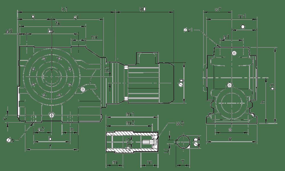 Двухступенчатые цилиндро-червячные редукторы ( типоразмер C0721-C1061)