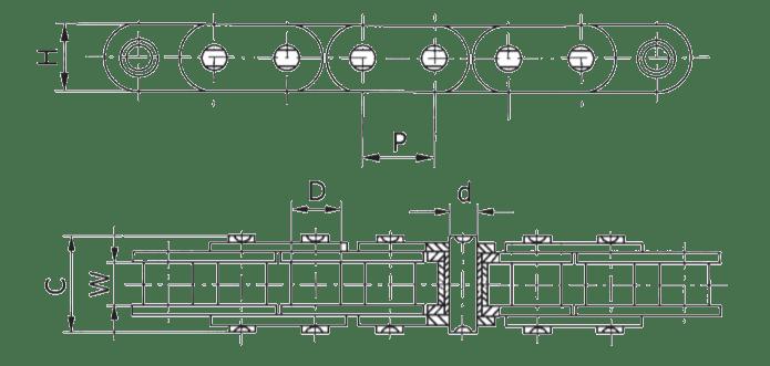 Однорядная цепь с прямыми пластинами