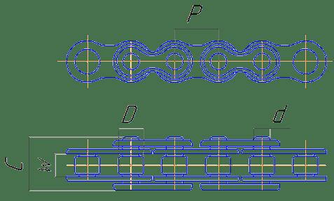 Однорядная роликовая цепь