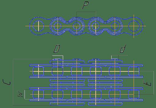 Двухрядная роликовая цепь из нержавеющей стали